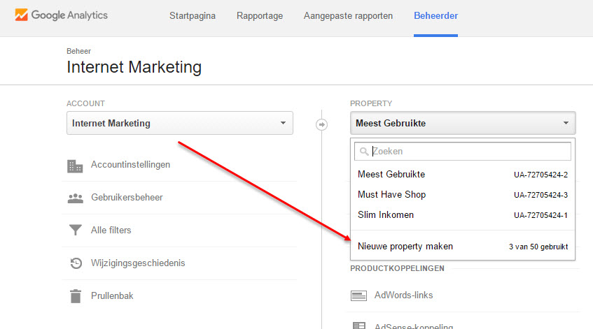 google analytics property aanmaken