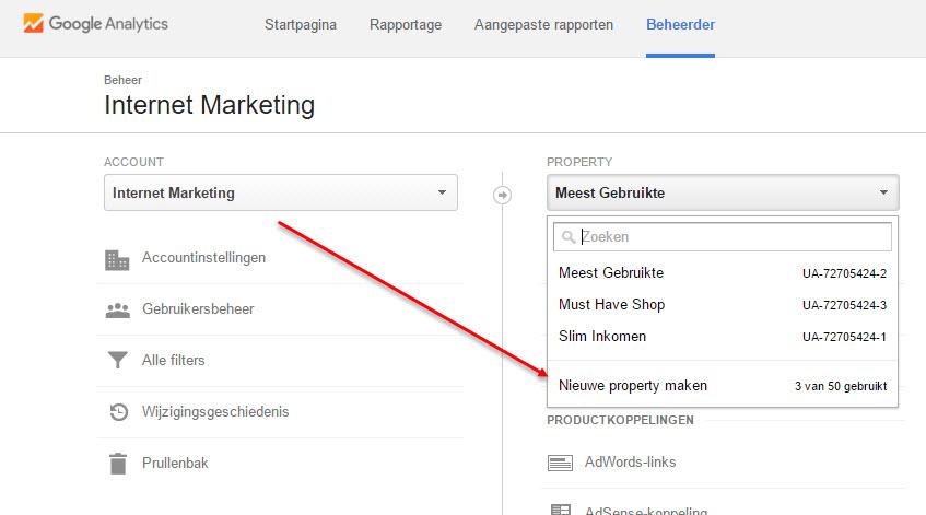 google analytics property aanmaken