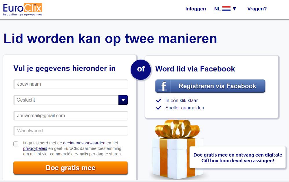Vul je gegevens in of meld je aan via facebook om lid te worden van EuroClix