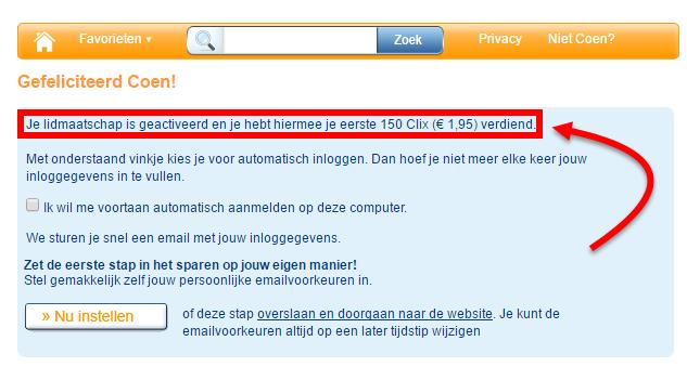 In deze afbeelding zie je dat mijn account is geactiveerd en er 1,95 euro bijgeschreven is.